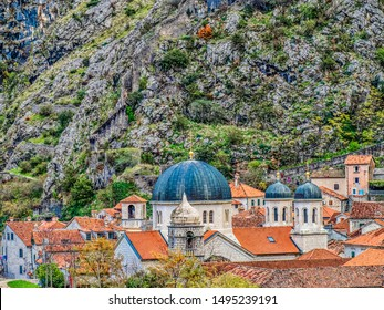Blue-domed church in the town of Kotor, Montenegro on the Adriatic coast.