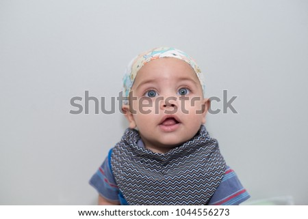 Blueeyed Baby Boy Bandana On Head Stock Photo (Edit Now) 1044556273 ... 32e99f31e1c