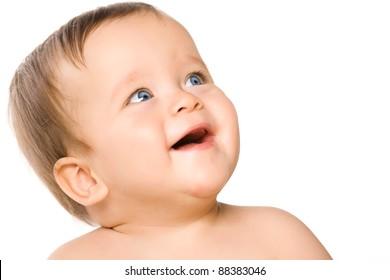 The blue-eyed baby, close-up. Isolated on white.