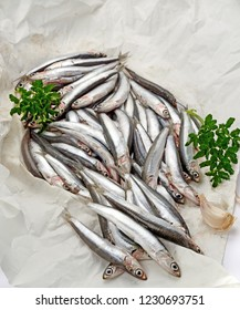 bluefish raw anchovies on cooking paper