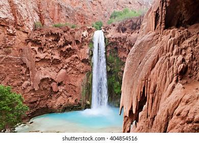 The blue-green waters of Havasu Creek in Grand Canyon, Arizona