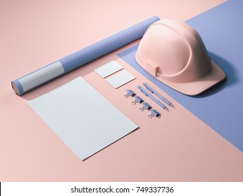 Blue-pink branding mockup with blank sheets of paper, envelope and hard hat. 3d rendering