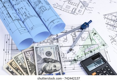 Sankt petersburg russia june 20 2018 yahoo stock photo 100 legal a blueprint of an architect with money calculator symbolic photo for financing and planning malvernweather Images