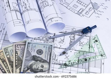 Sankt petersburg russia june 20 2018 yahoo stock photo 100 legal a blueprint of an architect with money symbolic photo for financing and planning of a malvernweather Images