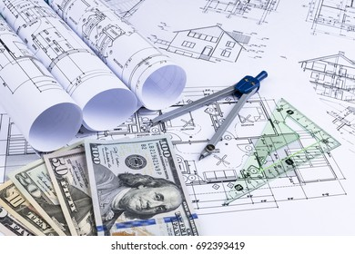 Occupied house images stock photos vectors shutterstock a blueprint of an architect with money symbolic photo for financing and planning of a malvernweather Images