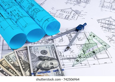 Sankt petersburg russia june 20 2018 yahoo stock photo 100 legal blueprint of an architect with money symbolic photo for financing and planning of a new malvernweather Images