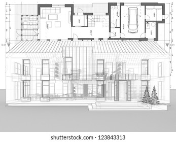 Blueprint architecture plan perspective drawing contemporary stock blueprint architecture plan and perspective drawing of contemporary house malvernweather Images