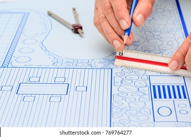 Blueprint backyard garden and pool design plan for villa.