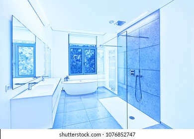 Blueprint of a  Bathtub in corian, Faucet and shower in tiled bathroom