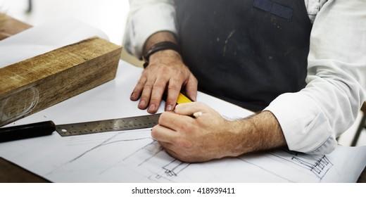 Blueprint Craftsmanship Skilled Timber Woodwork Concept