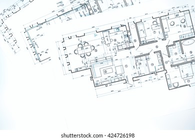blueprint floor plans, architectural drawings, construction background