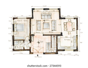 Blueprint of a house, sketch