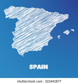 Blueprint spain images stock photos vectors shutterstock a blueprint map of the country of spain malvernweather Images