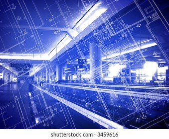 blueprint over building