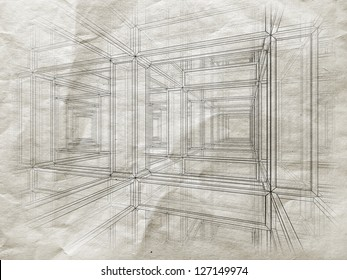Blueprint with perspective view of an abstract 3d braced construction on old gray paper