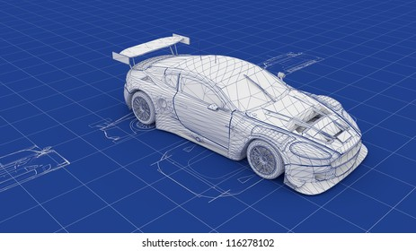 Car electronics images stock photos vectors shutterstock blueprint race car part of a series malvernweather Image collections