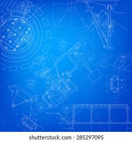 Blueprint scheme of different parts of machine