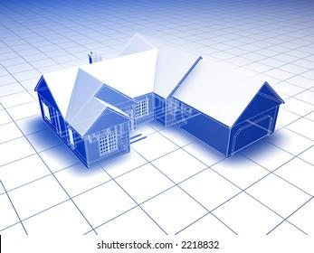 Blueprint style 3D rendered house. Blue shading on white background.