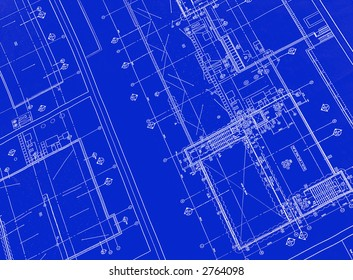 A blueprint with white ink