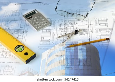 blueprints, construction - a collage as the concept of a successful construction