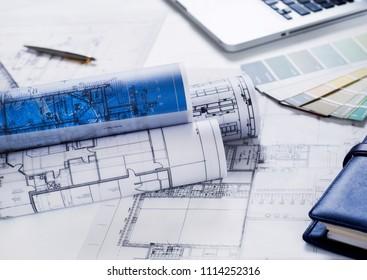 Blueprints on desk