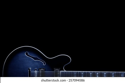 blues classic guitar shape on black background