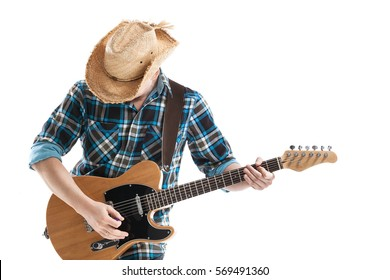 blues or country guitarist isolated on white
