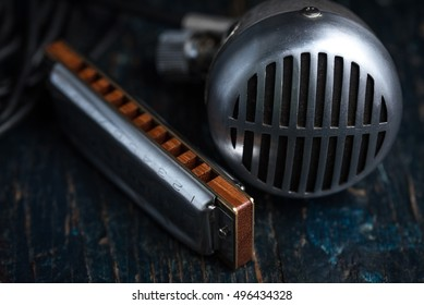Blues Harmonica with Microphone