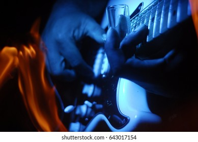 Blues musician fire slide