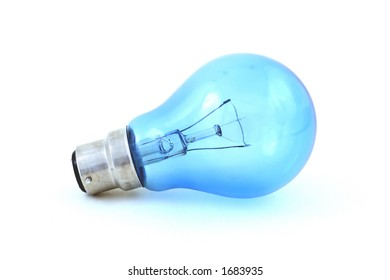 A blue-tinted daylight simulation bulb with bayonet fitting, isolated on a white background