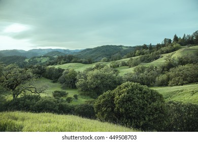 blue-toned view of California countryside.