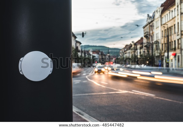 A Bluetooth Beacon device installed on a bus stop, to digitally guide passengers. / Bluetooth Beacon deployed in a Smart City / Cluj-Napoca, Romania â?? September 19, 2016