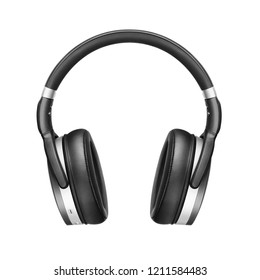 Bluetooth Headphones Isolated on White Background. Front View Black Silver Wireless Over-the-Ear Headset With Noise Cancelling and Integrated Microphone. Acoustic Stereo Sound System