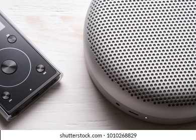Bluetooth speaker and MP3 player. Detail.