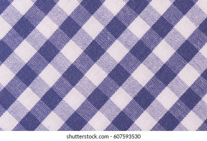 Blue-white checkered fabric texture, bavarian background.