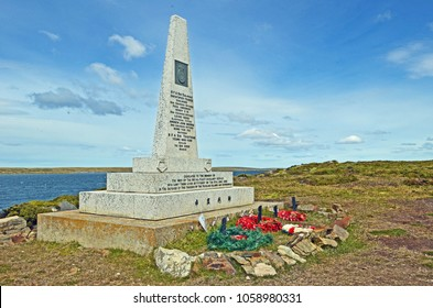Bluff Cove, Falkland Islands - January 7 2014: Royal Fleet Auxiliary (RFA) Memorial to the men killed during the Argentine air attack on RFA Sir Galahad and RFA Sir Tristram.
