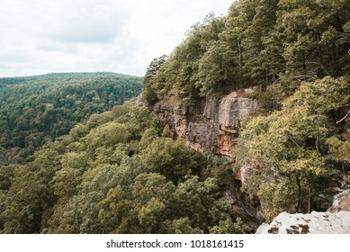 Bluff lines and rock formations at Hawksbill Crag Hiking Trail; near Fayetteville, Arkansas