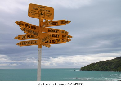 Bluff, New Zealand. 26 July 2016. Famous AA direction sign