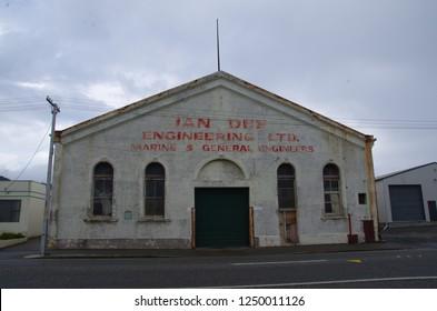 Bluff, Southland, New Zealand. February 21, 2015. Ian dee engineering ltd building.