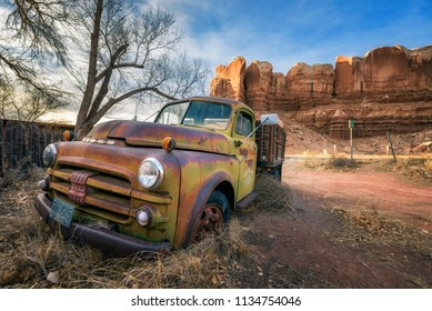 Bluff, Utah, USA - December 31, 2017 : Deserted old Dodge pickup vehicle parked near Twin Rocks trading post in Bluff, Utah