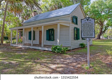 """Bluffton, SC - April 13, 2018: The Garvin House located within the """"Old Town"""" district is rare in that is was owned and constructed by an African American freed slave during the Reconstruction Era."""