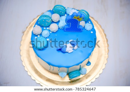 Bluie Birthday Cake First Aniversary 1 Stock Photo Edit Now