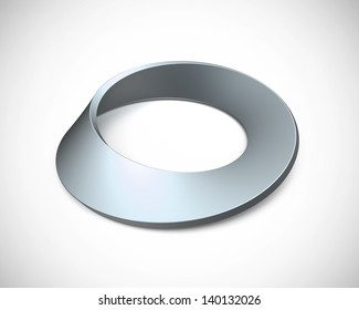 bluish mobius strip lying on a white background