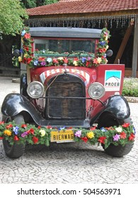 BLUMENAU, SANTA CATARINA, BRAZIL -  2008: Old Ford Truck in Blumenau, a German Town in Brazil During Oktoberfest in the Itajai River Valley