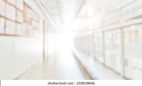 Blur abstract background of corridor in clean hospital. Blurred view of aisle in office with light floor. Blurry lobby and waiting area in hotel. Defocused walkway area in front of classroom in school
