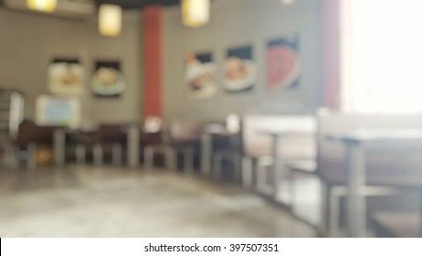 Blur Abstract Background Of Empty Tables At Restaurant In Sunny Day; Blurry  View Of Interior