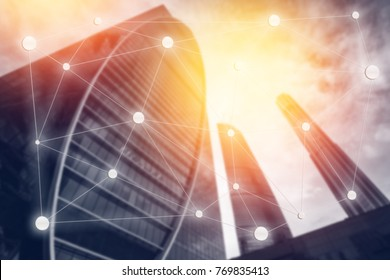 blur abstract background  Moscow International Business Center. Concept negotiations, transactions, calculations, Blockchain, communication