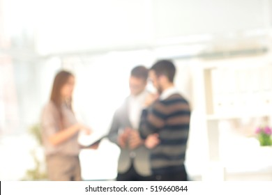 Blur abstract background with office meeting of the colleagues p