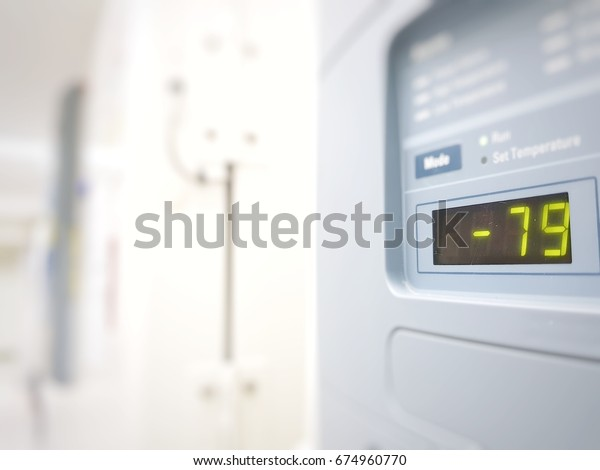 Blur abstract background of ultra low temperature freezer for specimens storage in laboratory testing in medical hospital.