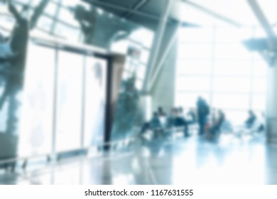 Blur abstract duty free shopping mall in airport background. Abstract blur and bokeh beautiful luxury shopping mall in airport indoor. Duty free blur background